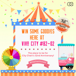 [City Chain Primo] We're keeping the 32nd Anniversary party alive at City Chain Vivo City B2-02 TOMORROW, on the 21st of