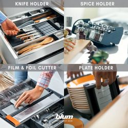 [Blum & Co] Organise your TANDEMBOX with ORGA-LINEThe ORGA-LINE inner dividing system keeps your drawers neat, and promotes efficiency to