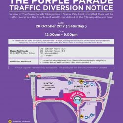 [Le Creuset] TRAFFIC UPDATE The Purple Parade 2017 is happening on 28 October, Saturday.