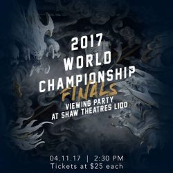 [Shaw Theatres] League of Legend World 2017 Championship Finals tickets will be on sale on 21st Oct (Sat)!