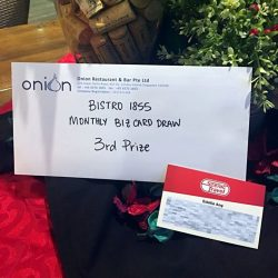 [Bistro 1855] Congratulations to the winners in our Monthly Business Card Draw!