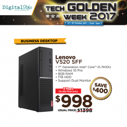 [Newstead Technologies] Save $400 on Lenovo V520 SFF business desktop PC, only at Digital Style Tech Golden Week 2017 Roadshow!