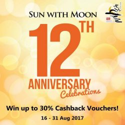 [Sun with Moon Japanese Dining & Café] Due to popular demand, we will be offering an extension for our 12th Anniversary Cashback Vouchers until 19th of October