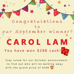 [Miniso] Congratulations to Carol Lam for being the winner of our rewards card lucky draw for September!