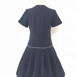 [Que Sera] A retro style black with grey piping low waist dress with sleeves.