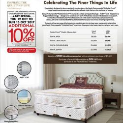 [Sealy Singapore] Enjoy additional 10% savings on mattresses for Takashimaya cardholders from 12th - 15th October!