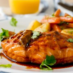 [THE SEAFOOD MARKET PLACE BY SONG FISH] Baked Honey Sriracha SalmonFour.
