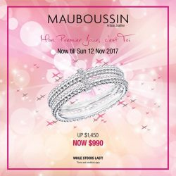 "[Mauboussin] Exclusive offer on Mauboussin ring ""Mon Premier Jour C'est Toi"" at 990$ (UP: 1490$), till Sunday 12 Nov 2017."