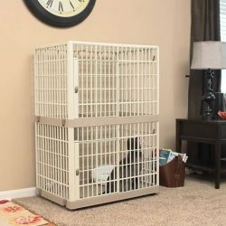 [Pets' Station] This multi-story plastic cat condo is ideal for apartments or homes where space is limited.