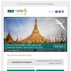 [Singapore Airlines] From SGD179, discover the wonders of the region with SilkAir and American Express.