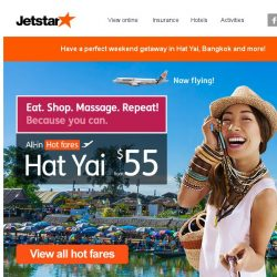 [Jetstar] Now Flying: Singapore ✈ Hat Yai, Thailand | Citi Cards Exclusive Sale ends 5 Nov