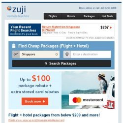 [Zuji] 3D2N packages from below $200 and more!