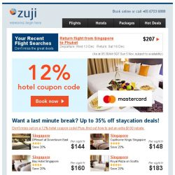 [Zuji] Staycation deals fr $144 + 12% hotel coupon code!