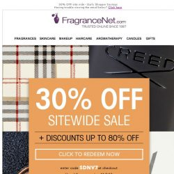 [FragranceNet] The early shopper gets the sale (and 30%)!