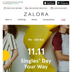 [Zalora] Subscribers Exclusive: 11.11 Singles' Day deals unveiled!
