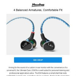 [Massdrop] Ultimate Ears 900s IEM: One of Our Most Requested In-Ear Monitors for $174.99