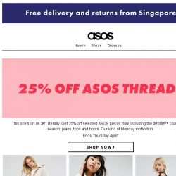 [ASOS] 25% off ASOS dresses, coats, boots and more