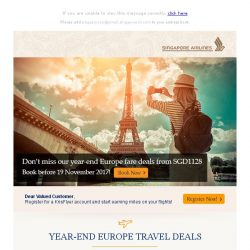 [Singapore Airlines] Don't miss the year-end Europe deals from SGD1,128