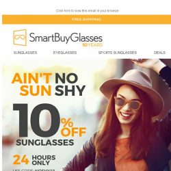 [SmartBuyGlasses] Ain't no sun shy! Enjoy 10% off Sunglasses to celebrate the cold season 🎉