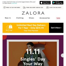 [Zalora] 🔥 It's here: Singles' Day SALE - The biggest sale event of the year!