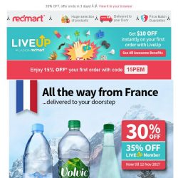 [Redmart] 15% OFF with min purchase $40, and 30% OFF Evian!