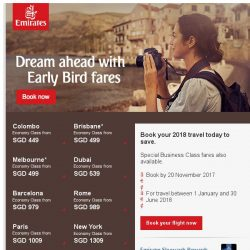 [Emirates] Book Early Bird fares to over 150 destinations - fly from just SGD 449*