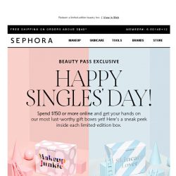 [Sephora] Celebrate Singles' Day with a gift!