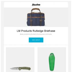 [Massdrop] LM Products Rutledge Briefcase, Maserin 680 Police Folding Tactical Knife, Sierra Designs Zissou/Eleanor Plus 700 Sleeping Bag and more...