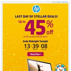 [HP Singapore]  Hurry! Last Day of up to 45% Stellar Deals!