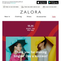 [Zalora] Thank you for making Singles' Day a success!