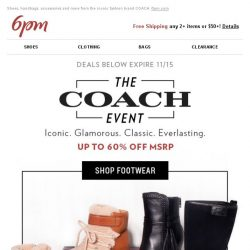 [6pm] The Coach Event Starts Now (Up to 60% Off)