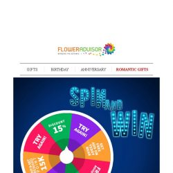 [Floweradvisor] [MUST READ] Spin The Wheel and Get Free Bouquets, Chocolates and More!