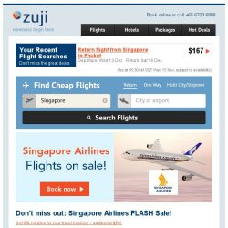 [Zuji] Singapore Airlines on Sale! Fr $145.