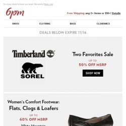 [6pm] Sorel + Timberland up to 50% off and more!