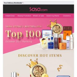 [SaSa ] 【RECOMMENDED】Up to 87% OFF Sasa Store's TOP 100 Items!