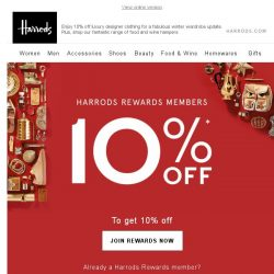 [Harrods] Don't Miss – Exclusive 10% Off*