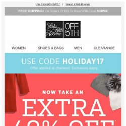 [Saks OFF 5th] Happy Holidays: here's an EXTRA 40% OFF Brioni, Versace & MORE!