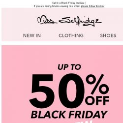 [Miss Selfridge] Up to 50% off!