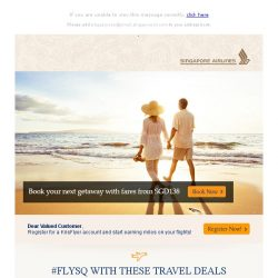 [Singapore Airlines] Book your next holiday with fares from SGD138!