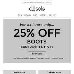 [Allsole] 1 Day Only | 25% off Boots