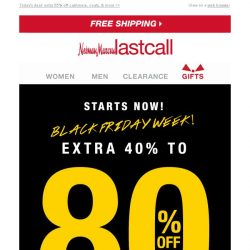 [Last Call] BLACK FRIDAY SALE NOW CONFIRMED ✉ you scored an EXTRA 40%–80% OFF EVERYTHING