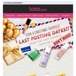 [SaSa ] 【Don't Miss the Last Posting Dates】Grab the Last Chance to Send a Christmas Surprise!