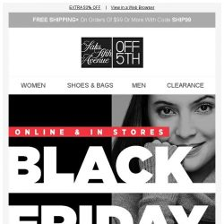 [Saks OFF 5th] The sale of the year is finally here...