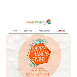[Floweradvisor] THANKSGIVING SPECIAL: Send Out Your Thanks With Same Day Delivery Service!