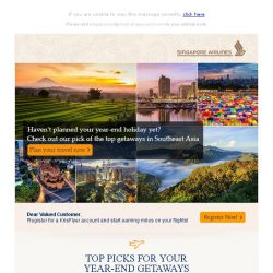 [Singapore Airlines] Top 6 destinations for a perfect year-end holiday