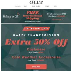 [Gilt] 🚨Extra 50% Off Cashmere: 24 Hours Only
