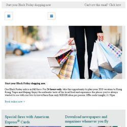 [Cathay Pacific Airways] 24 hours only: Black Friday sale from SGD208 all-in
