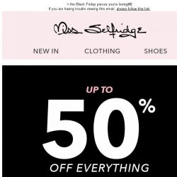 [Miss Selfridge] UP TO 50% OFF EVERYTHING!