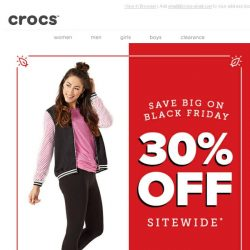 [Crocs Singapore] ✨Rise & Shine…30% OFF Crocs' Black Friday Deals Are Here!