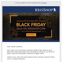 [Singapore Airlines] Now on: Don't miss these Black Friday deals on KrisShop.com